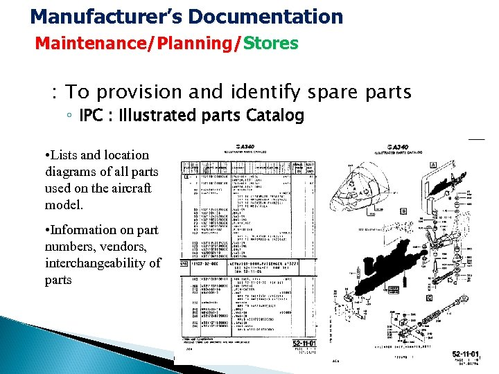 Manufacturer's Documentation Maintenance/Planning/Stores : To provision and identify spare parts ◦ IPC : Illustrated