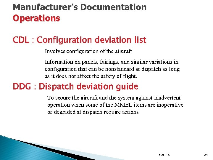 Manufacturer's Documentation Operations CDL : Configuration deviation list Involves configuration of the aircraft Information