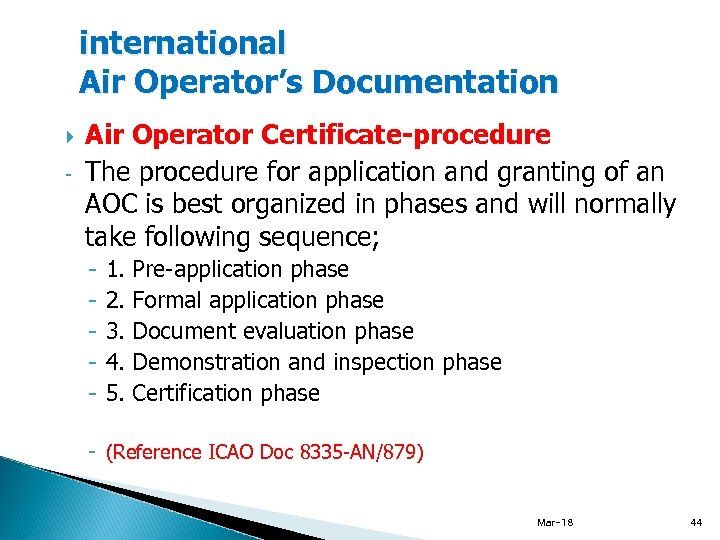 international Air Operator's Documentation - Air Operator Certificate-procedure The procedure for application and granting