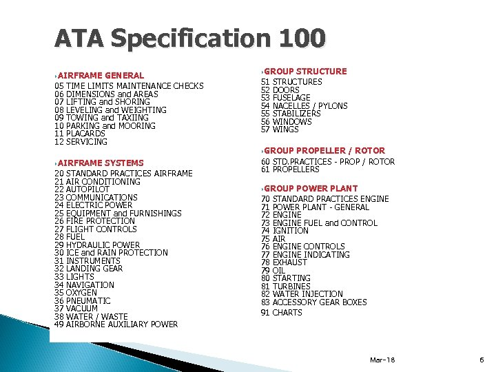 ATA Specification 100 AIRFRAME 05 06 07 08 09 10 11 12 GENERAL TIME
