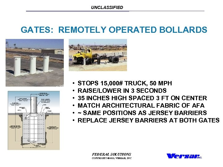 UNCLASSIFIED GATES: REMOTELY OPERATED BOLLARDS • • • STOPS 15, 000# TRUCK, 50 MPH