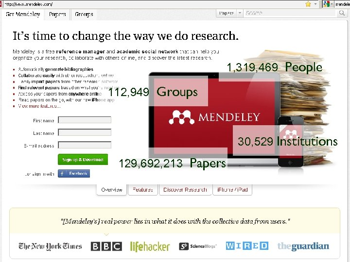 Mendeley 1, 319, 469 People 112, 949 Groups 30, 529 Institutions 129, 692, 213