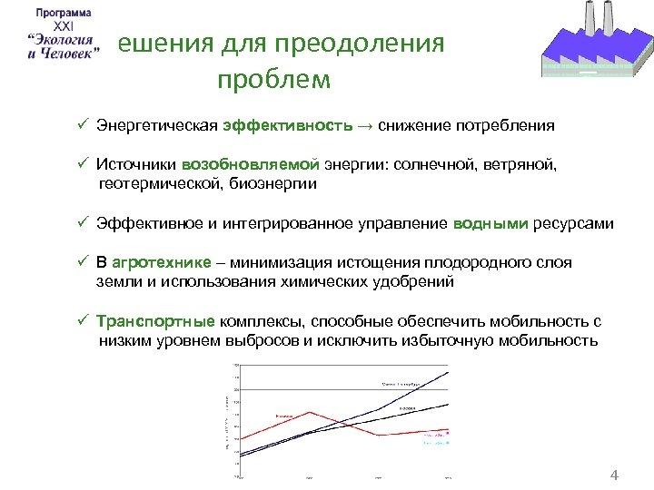 Решения для преодоления проблем ü Энергетическая эффективность → снижение потребления ü Источники возобновляемой энергии: