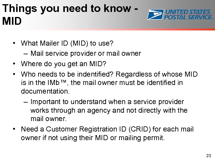 Things you need to know - MID • What Mailer ID (MID) to use?