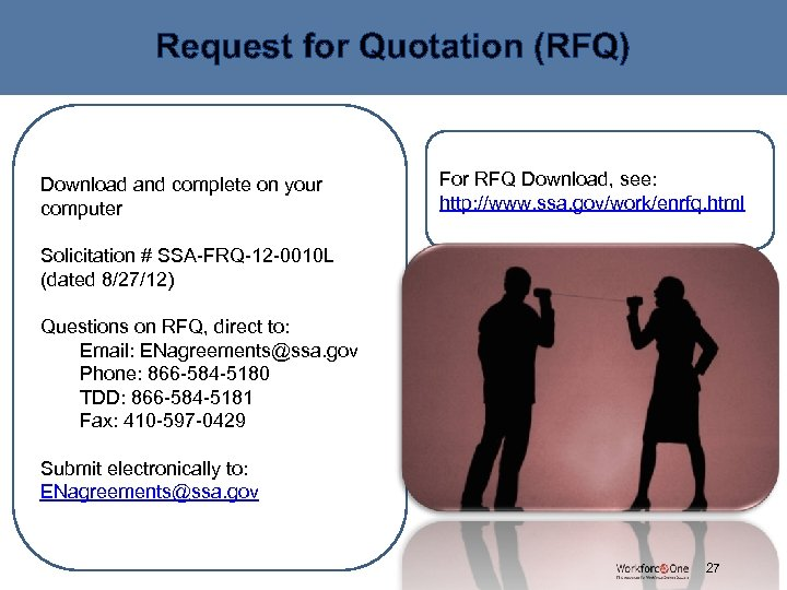 Request for Quotation (RFQ) For RFQ Download, see: http: //www. ssa. gov/work/enrfq. html Download