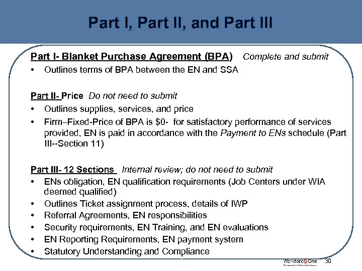 Part I, Part II, and Part III Part I- Blanket Purchase Agreement (BPA) •