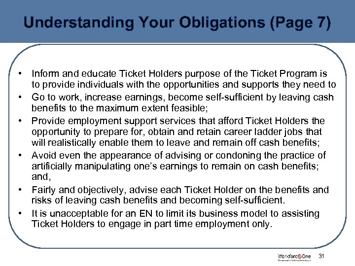 Understanding Your Obligations (Page 7) • Inform and educate Ticket Holders purpose of the