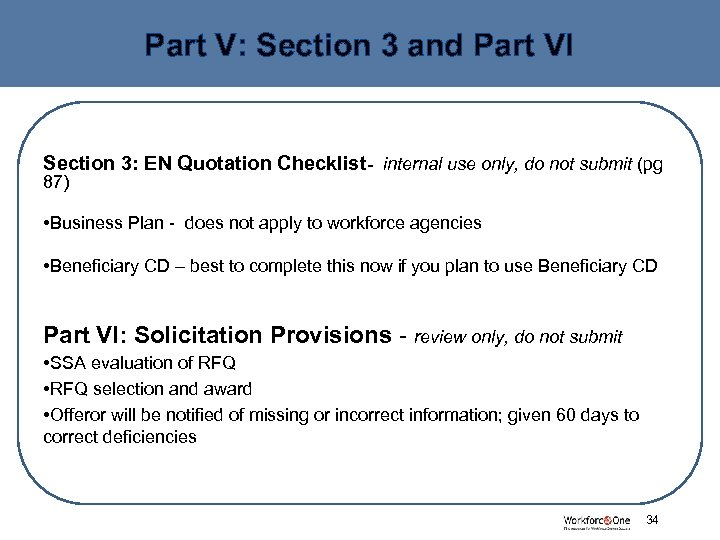 Part V: Section 3 and Part VI Section 3: EN Quotation Checklist- internal use