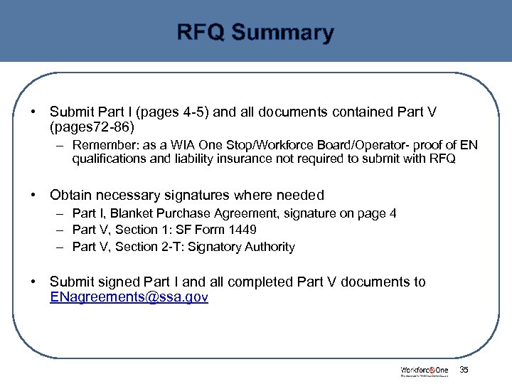 RFQ Summary • Submit Part I (pages 4 -5) and all documents contained Part