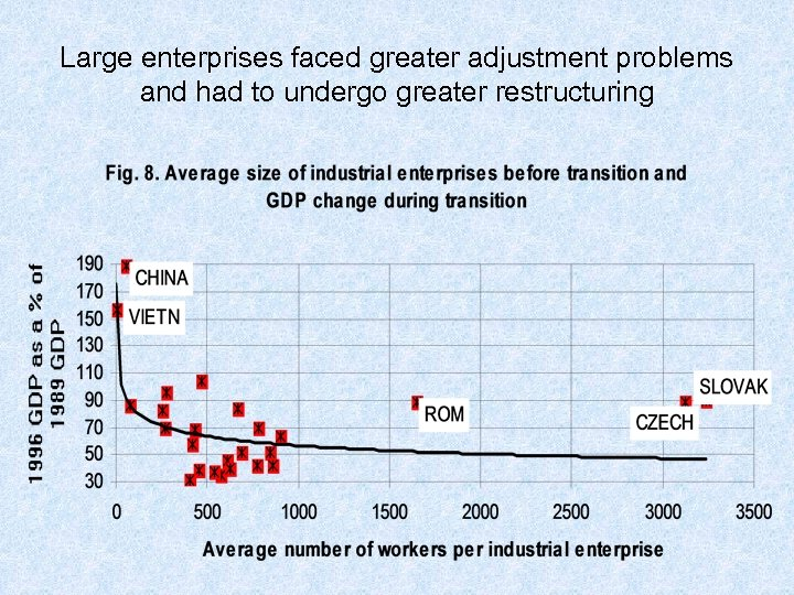 Large enterprises faced greater adjustment problems and had to undergo greater restructuring