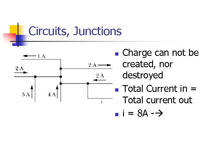 Circuits, Junctions n n n Charge can not be created, nor destroyed Total Current