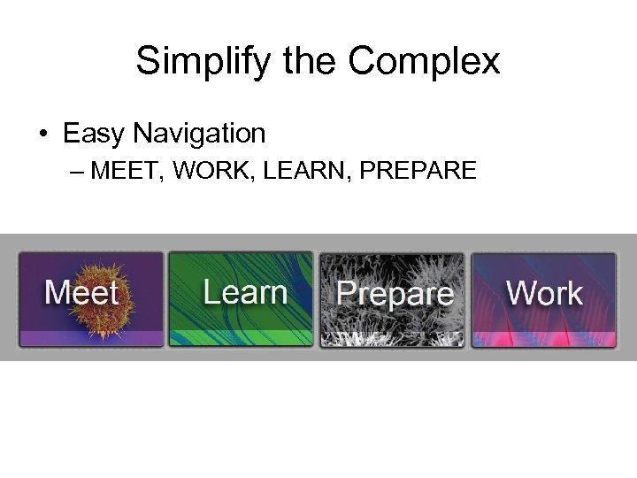 Simplify the Complex • Easy Navigation – MEET, WORK, LEARN, PREPARE
