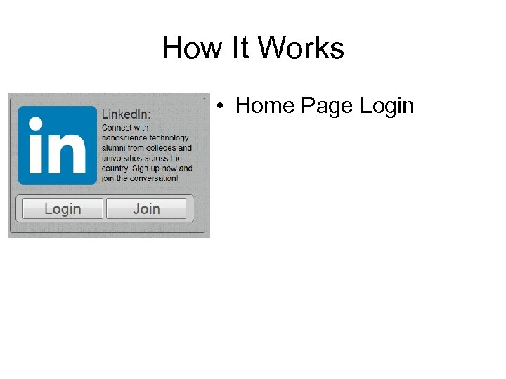How It Works • Home Page Login