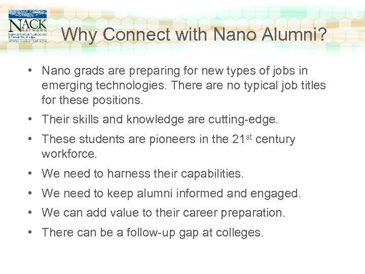 www. nano 4 me. org Why Connect with Nano Alumni? Click to edit Master