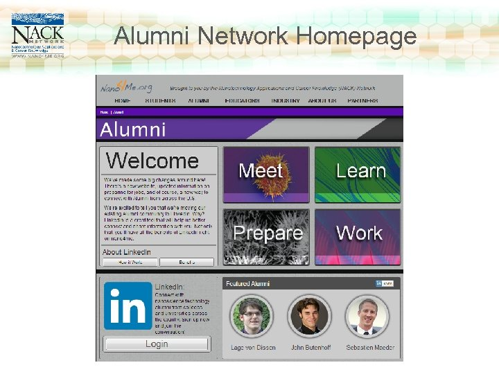 www. nano 4 me. org Alumni Network Homepage Click to edit Master title style