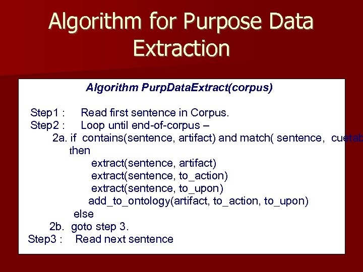 Algorithm for Purpose Data Extraction Algorithm Purp. Data. Extract(corpus) Step 1 : Read first