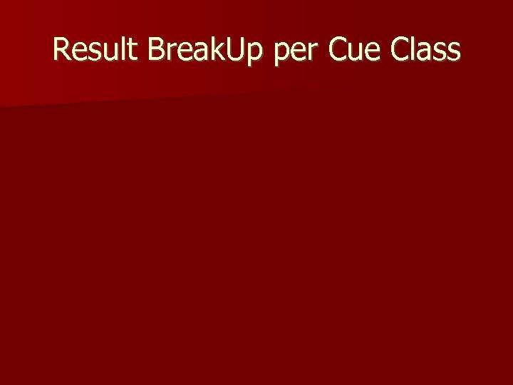Result Break. Up per Cue Class