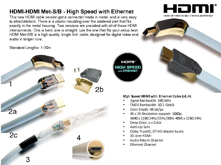 HDMI-HDMI Met-S/B - High Speed with Ethernet This new HDMI cable version got a