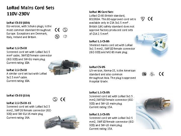 Lo. Rad Mains Cord Sets 110 V-230 V Lo. Rad CS-EU (10 A) EU-version,