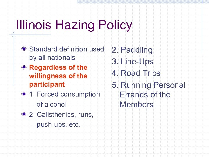 Illinois Hazing Policy Standard definition used by all nationals Regardless of the willingness of