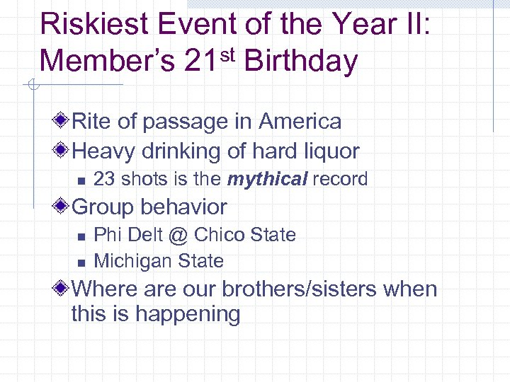 Riskiest Event of the Year II: st Birthday Member's 21 Rite of passage in