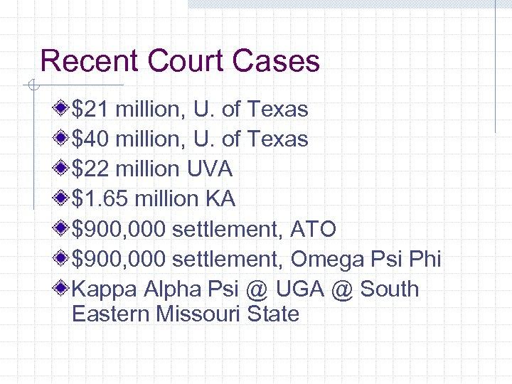 Recent Court Cases $21 million, U. of Texas $40 million, U. of Texas $22