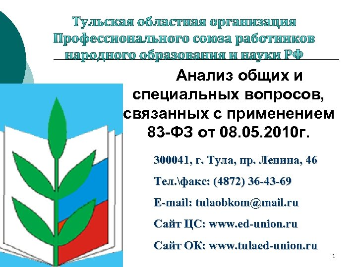 Тульская областная организация Профессионального союза работников народного образования и науки РФ Анализ общих и