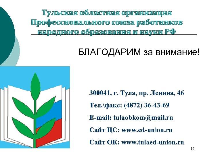 Тульская областная организация Профессионального союза работников народного образования и науки РФ БЛАГОДАРИМ за внимание!