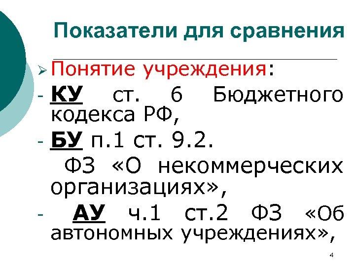 Показатели для сравнения Ø Понятие учреждения: КУ ст. 6 Бюджетного кодекса РФ, - БУ