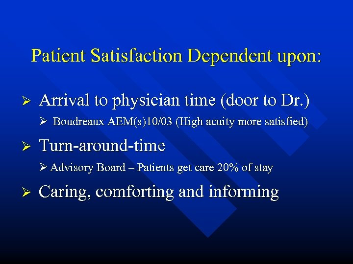 Patient Satisfaction Dependent upon: Ø Arrival to physician time (door to Dr. ) Ø