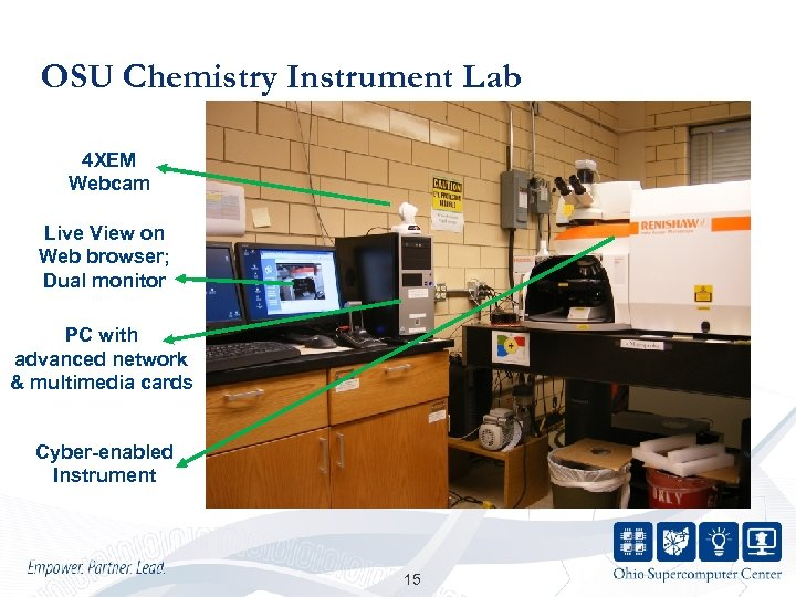OSU Chemistry Instrument Lab 4 XEM Webcam Live View on Web browser; Dual monitor
