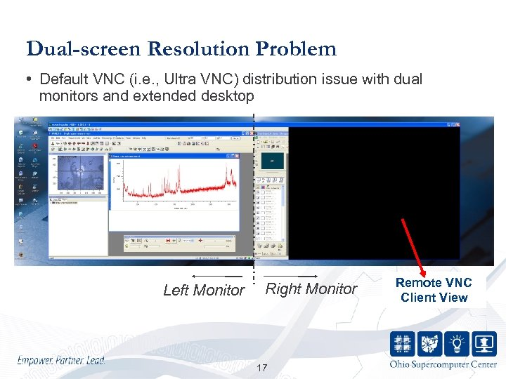 Dual-screen Resolution Problem • Default VNC (i. e. , Ultra VNC) distribution issue with