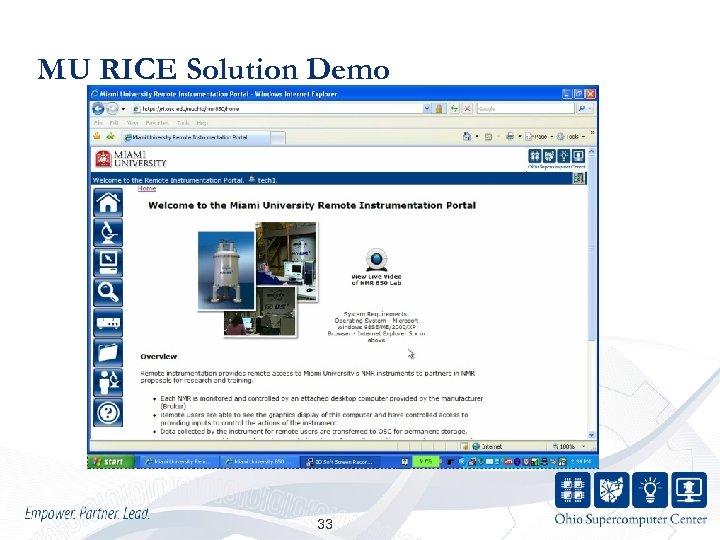 MU RICE Solution Demo 33