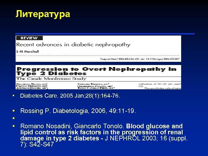 Литература • Diabetes Care. 2005 Jan; 28(1): 164 -76. • Rossing P. Diabetologia, 2006,