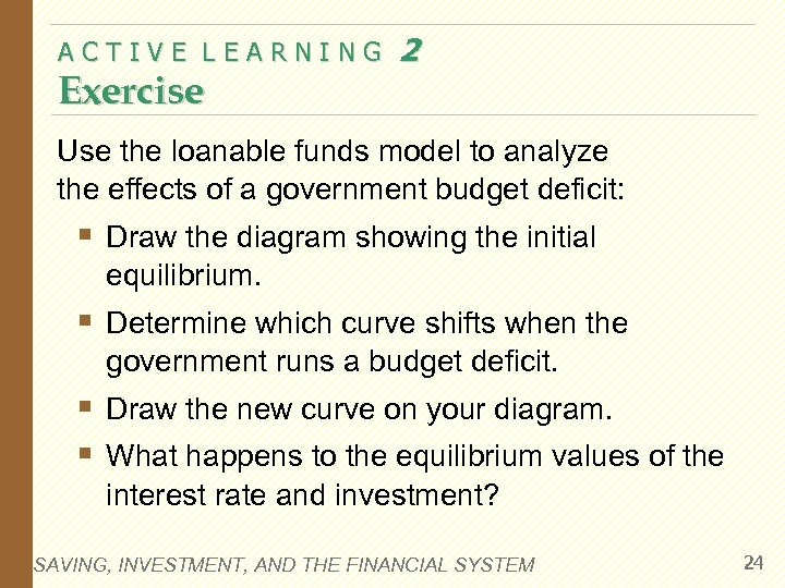 ACTIVE LEARNING Exercise 2 Use the loanable funds model to analyze the effects of