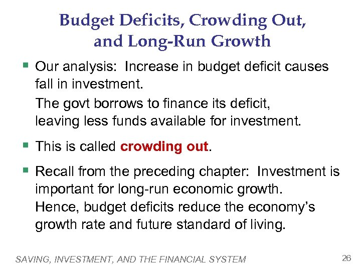 Budget Deficits, Crowding Out, and Long-Run Growth § Our analysis: Increase in budget deficit