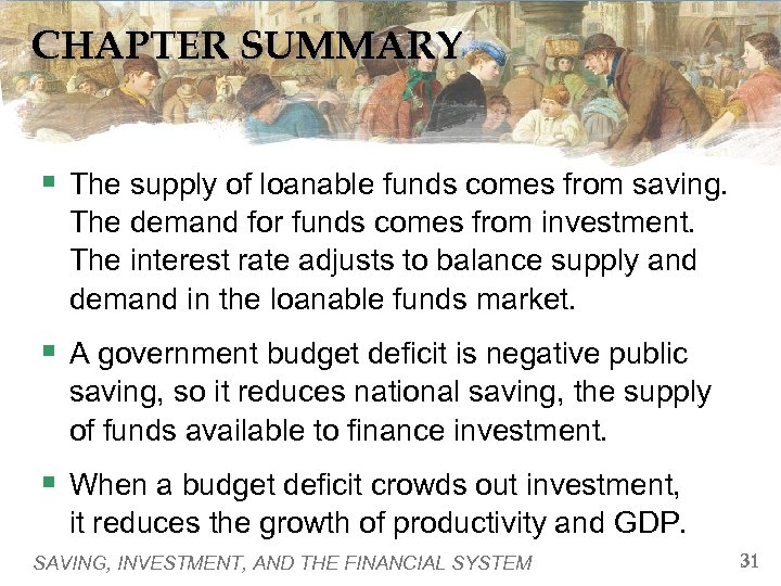 CHAPTER SUMMARY § The supply of loanable funds comes from saving. The demand for