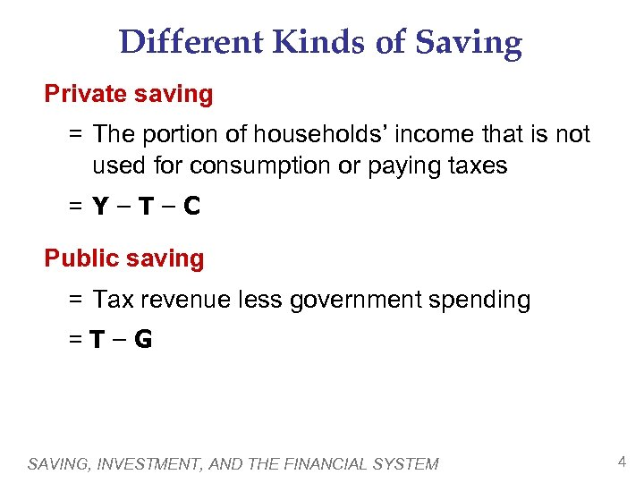 Different Kinds of Saving Private saving = The portion of households' income that is