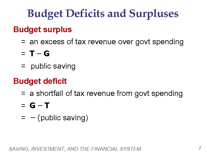 Budget Deficits and Surpluses Budget surplus = an excess of tax revenue over govt