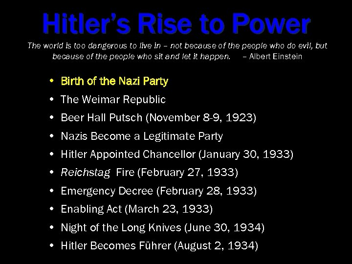 the five factors that majorly contributed to hitlers rise to power I'd also prefer such a system if it runs on science-meritocracy and attempts to limit factors for  can majorly interact  being hitlers daughter.