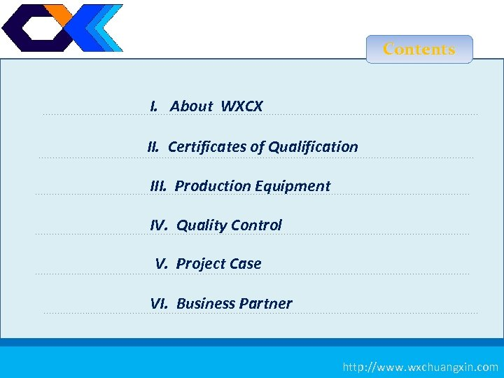 Contents I. About WXCX II. Certificates of Qualification III. Production Equipment IV. Quality Control