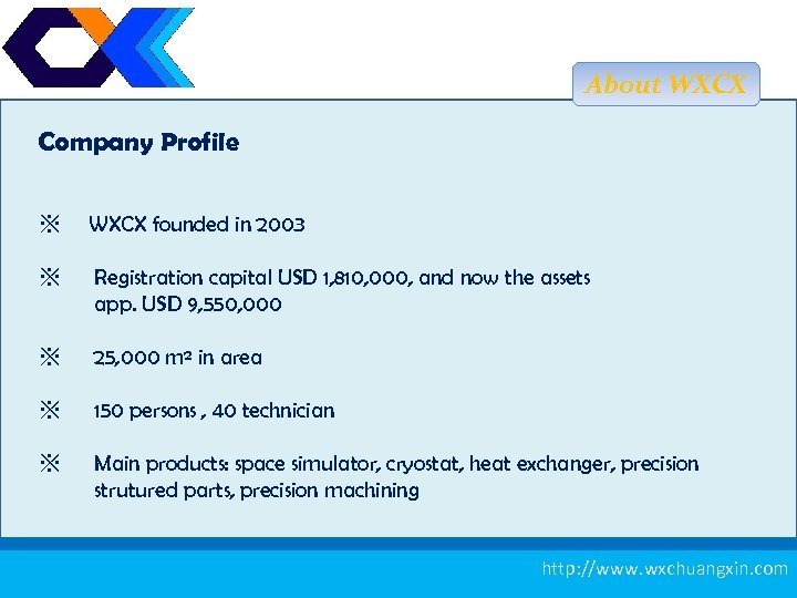 About WXCX Company Profile ※ WXCX founded in 2003 ※ Registration capital USD 1,