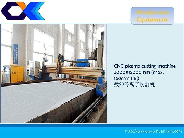 Production Equipment CNC plasma cutting machine 3000 X 15000 mm (max. 160 mm thi.