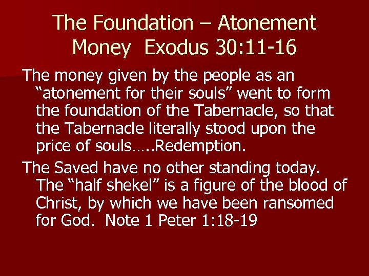 The Foundation – Atonement Money Exodus 30: 11 -16 The money given by the