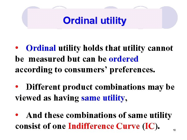 Ordinal utility • Ordinal utility holds that utility cannot be measured but can be