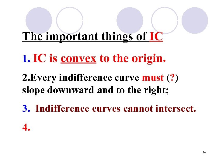 The important things of IC 1. IC is convex to the origin. 2. Every
