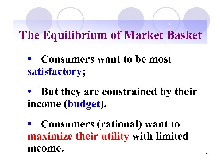 The Equilibrium of Market Basket • Consumers want to be most satisfactory; • But