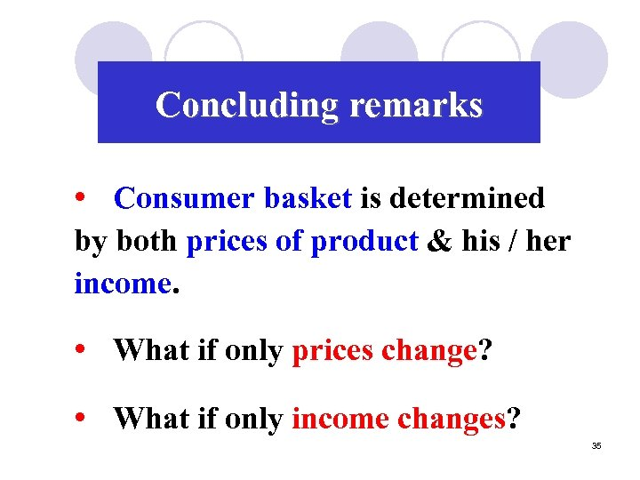 Concluding remarks • Consumer basket is determined by both prices of product & his