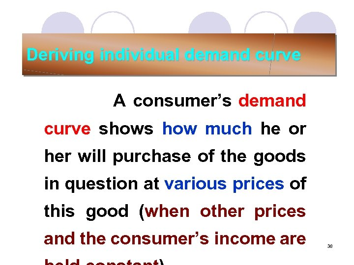 Deriving individual demand curve A consumer's demand curve shows how much he or her