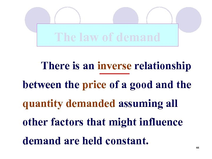 The law of demand There is an inverse relationship between the price of a